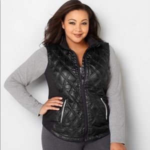 Women Quilt Vest W/ Knit Sides, Black 26/28
